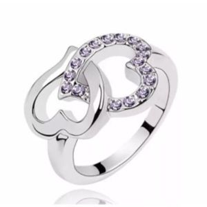 Jewelry - White Gold Filled Heart Purple CZ Ring